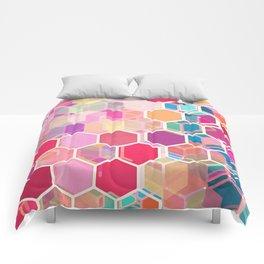 Rainbow Honeycomb - colorful hexagon pattern Comforters