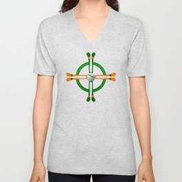 Hurley and Ball Celtic Cross Design - Solid colour background Unisex V-Neck
