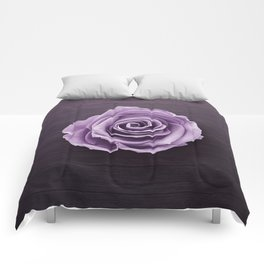 PURPLE - ROSE - ON - WOODEN - SURFACE Comforters