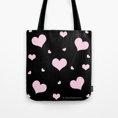 Pretty pink heart pattern on black Tote Bag