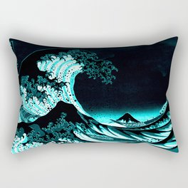 The Great Wave : Dark Teal Rectangular Pillow