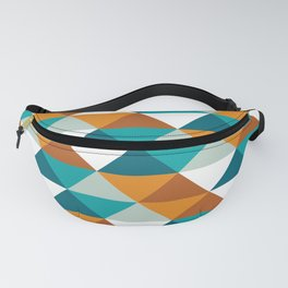 Warm Colored triangle pattern, abstract polygonal design (Sand and Sky color set 3 ) Fanny Pack