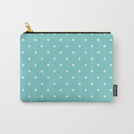Small White Polka Dots with Aqua Background Carry-All Pouch