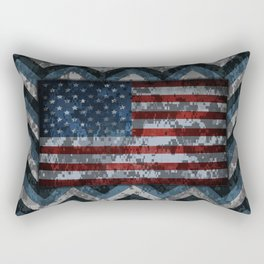 Blue Military Digital Camo Pattern with American Flag Rectangular Pillow