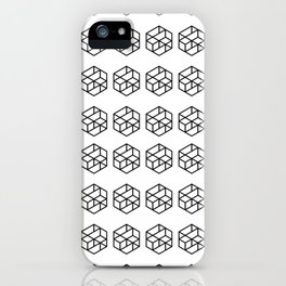 Black Geometrical Cube Pattern iPhone Case