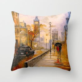 Snow in London Throw Pillow