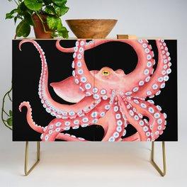 Red Octopus Tentacles Dance Watercolor Black Credenza