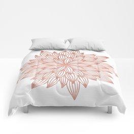 Mandala Flowery Rose Gold on White Comforters