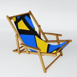 Yellow and Blue Triangles Abstract Sling Chair
