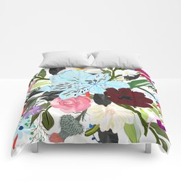 Alstroemerias, Fucisia, Roses, Vanilla, Cosmos Flower. Floral Colorful Bouquet Pattern Comforters