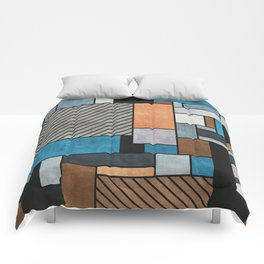 Random Concrete Pattern - Blue, Grey, Brown Comforters