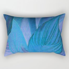 Exotic Leaves with Translucent Floral Pattern Rectangular Pillow
