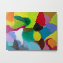 """Patchwork"" Original oil finger painting by Monika Toth Metal Print"