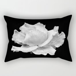 White Rose On Black Rectangular Pillow