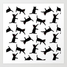 Cats-Black on White Art Print