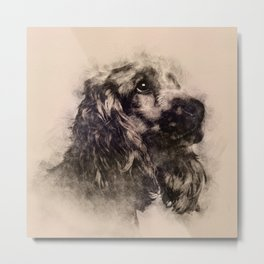 English Cocker Spaniel Sketch Metal Print