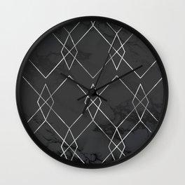 Silver Geometric on Black Marble Wall Clock