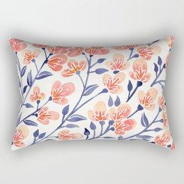 Cherry Blossoms – Peach & Navy Palette Rectangular Pillow