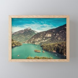 Lake Diablo - Blue and Green Water and Trees Framed Mini Art Print