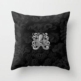 Octopus1 (Black & White, Square) Throw Pillow