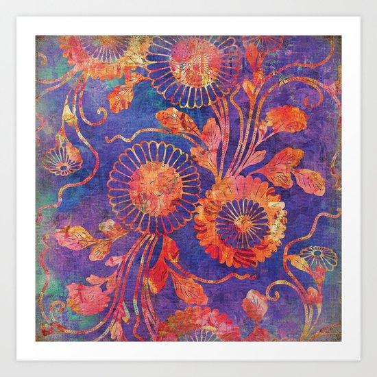 Red Flowers on Purple Art Print