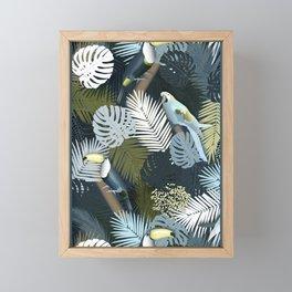 Toucan&Parrot (Blue-Green) Framed Mini Art Print