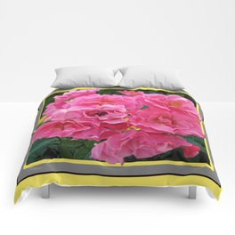CLUSTERED PINK ROSES YELLOW-GREY ART Comforters