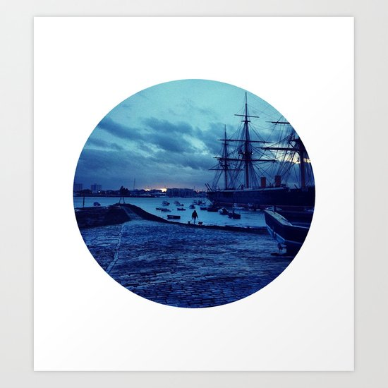 Telescope 3 harbour twilight Art Print