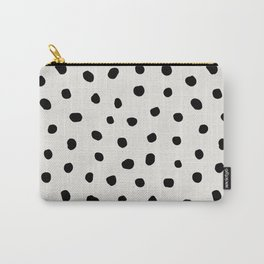 Modern Polka Dots Black on Light Gray Carry-All Pouch