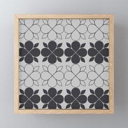 Black and Grey Flower Tile Framed Mini Art Print