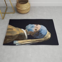 Girl with a Pearl Earring with Mask Rug