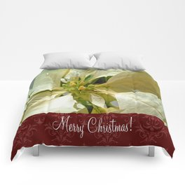 Pale Yellow Poinsettia 1 Merry Christmas S5F1 Comforters