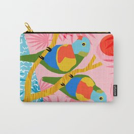 Besties - retro throwback memphis bird art pattern bright neon pop art abstract 1980s 80s style mini Carry-All Pouch