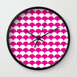 Pink Fan Shell Pattern Wall Clock