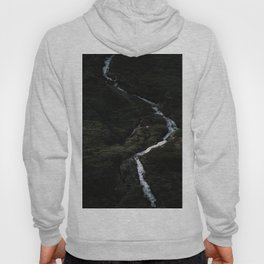 Dark forest with waterfall on the side of a mountain in Norway - Landscape Photography Hoody
