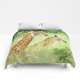 Baby giraffes in natures nursery Comforters