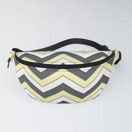 Black Yellow and White Chevrons Fanny Pack