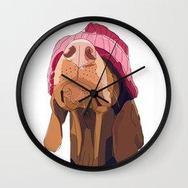 Hipster Vizsla Wall Clock