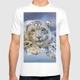 Snow Leopard and Moon T-shirt