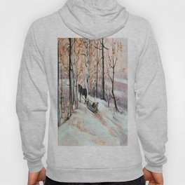 Sledging in the winter forest Hoody