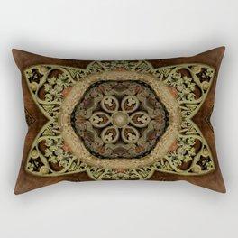 Ornamental Metal Flower On Wood Rectangular Pillow