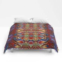 Oriental Watercolor Pattern Blue Red 1 Comforters