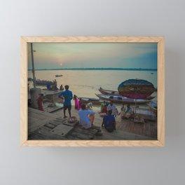 Life in the Ganges River Framed Mini Art Print