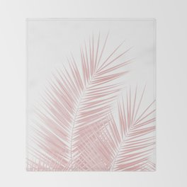 Blush Pink Palm Leaves Dream - Cali Summer Vibes #1 #tropical #decor #art #society6 Throw Blanket