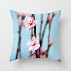 Pretty Pink Peach Petals Throw Pillow