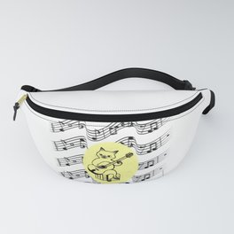 Cat Playing the Guitar on Music Notes Design Fanny Pack