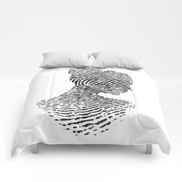Fingerprint Silhouette Portrait No.1 Comforters