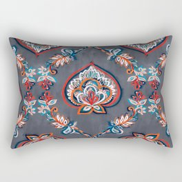 Floral Ogees in Red & Blue on Grey Rectangular Pillow