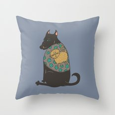 Black Dog in a Kitten Coat Throw Pillow