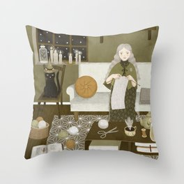 knitting magic Throw Pillow